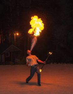 My oldest son fire dancing.