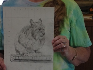 You can see the grid she used to draw her lynx.