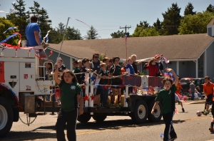 My son in the Cape Blanco Soccer Club float.