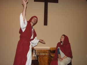 Eric, as Jesus, explains to Mary why it all had to happen. (He Made a Way in a Manger)