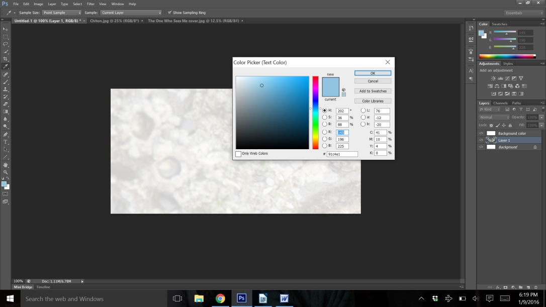 Text color dialog box